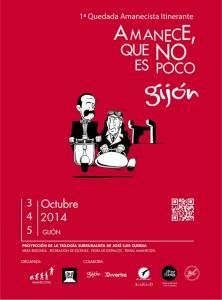 Cartel Amanecistas Quedada itinerante Gijón 2014 Amanece que no es poco